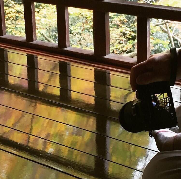 床に映り込む景色を撮る人を撮りました